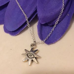 Silver All Seeing Eye Pendant Necklace
